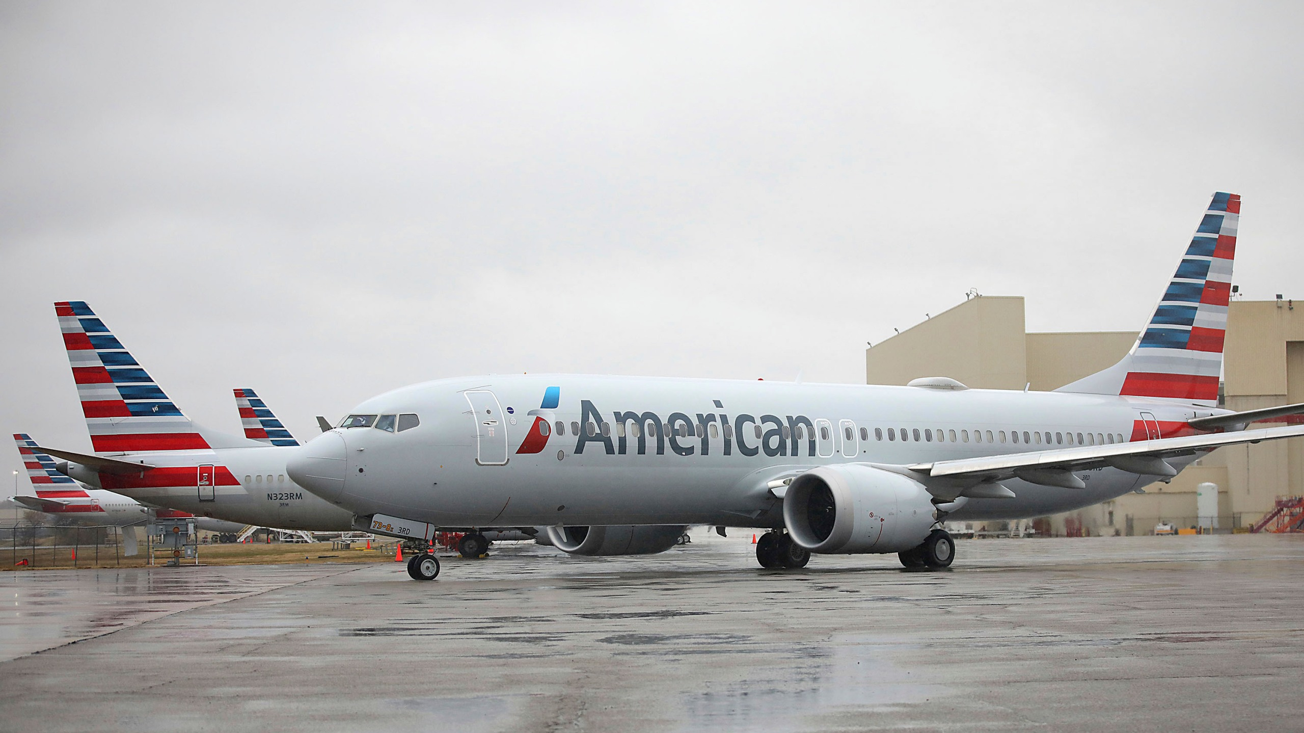 An American Airlines Boeing 737 Max taxis at Tulsa International Airport to fly to Dallas, Dec. 2, 2020, in Tulsa, Okla. (Mike Simons/Tulsa World via AP)