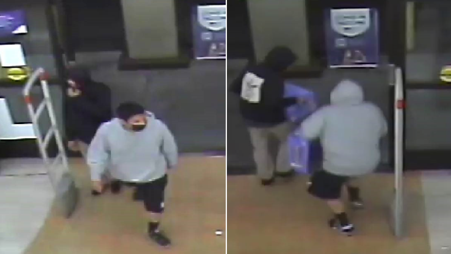 LAPD on July 17, 2021 released these surveillance images of two suspects wanted in the shooting death of a Rite Aid employee in Glassell Park.