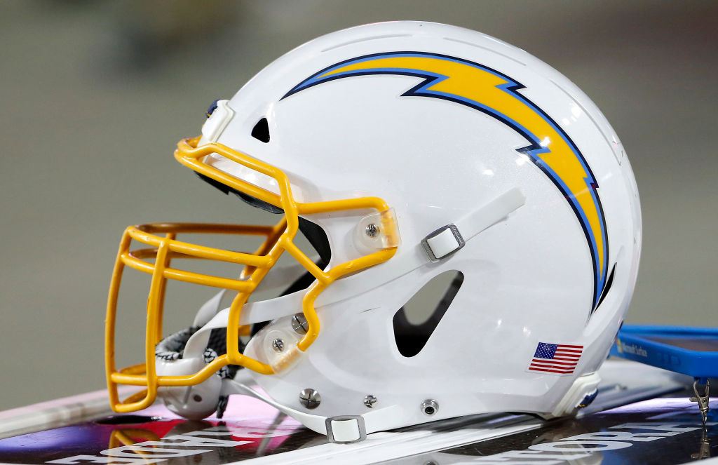 Los Angeles Chargers helmet on the sidelines prior to the start of the NFL pre-season game the Arizona Cardinals at State Farm Stadium on August 08, 2019 in Glendale, Arizona. (Photo by Ralph Freso/Getty Images)
