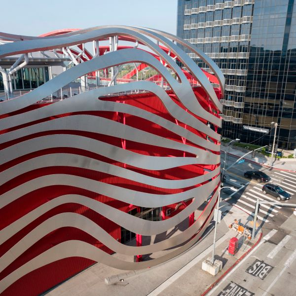 The Petersen Automotive Museum is seen amid the coronavirus pandemic in Los Angeles, California, April 27, 2020. (Robyn Beck/AFP via Getty Images)