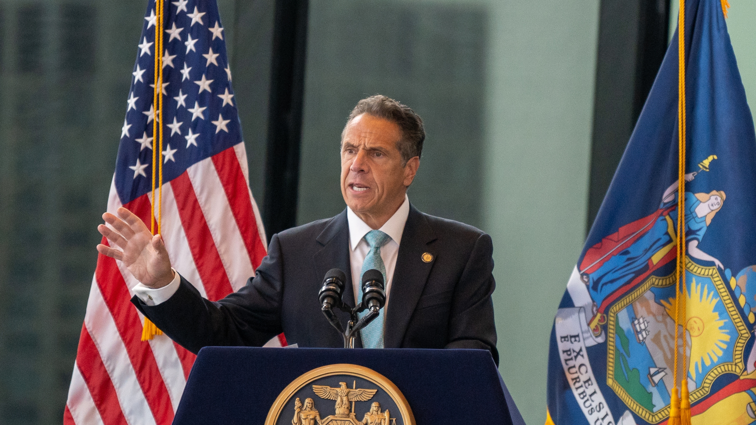 New York Gov. Andrew Cuomo speaks during a press conference at One World Trade Center on June 15, 2021 in New York City. (David Dee Delgado/Getty Images)