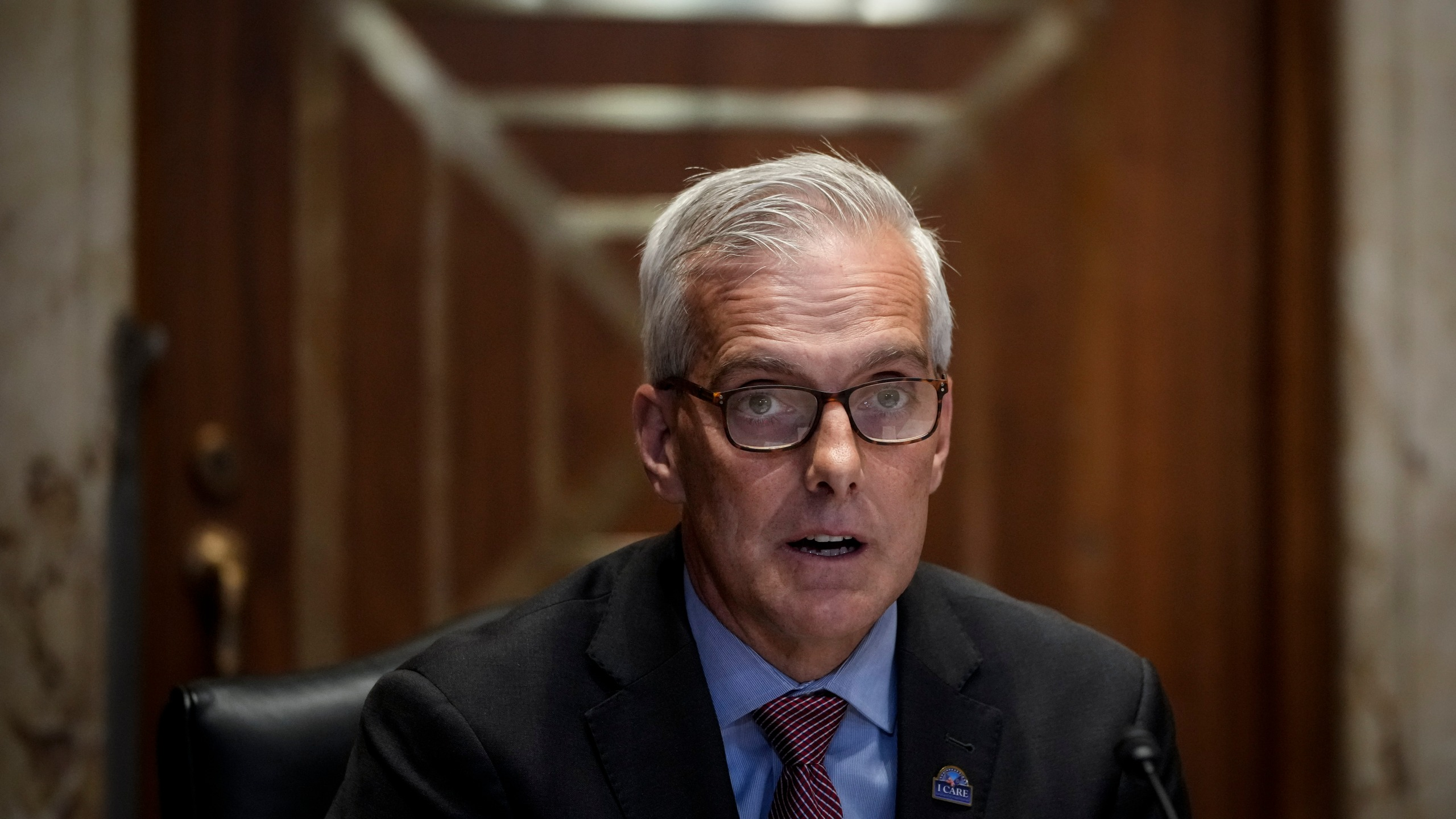 Secretary of Veterans Affairs Denis McDonough testifies during a Senate Appropriations Committee hearing on the fiscal year 2022 budget request for the Department of Veterans Affairs on Capitol Hill June 23, 2021 in Washington, DC. (Drew Angerer/Getty Images)