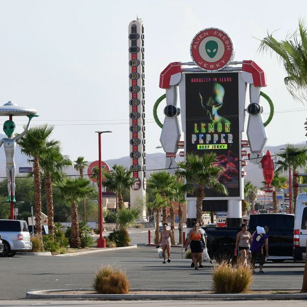 Triple digit temperatures are seen on what is billed as the World's Tallest Thermometer in the Mojave Desert town of Baker, where temperatures hit 118 degrees as California is gripped in another heat wave. (FREDERIC J. BROWN/AFP via Getty Images)