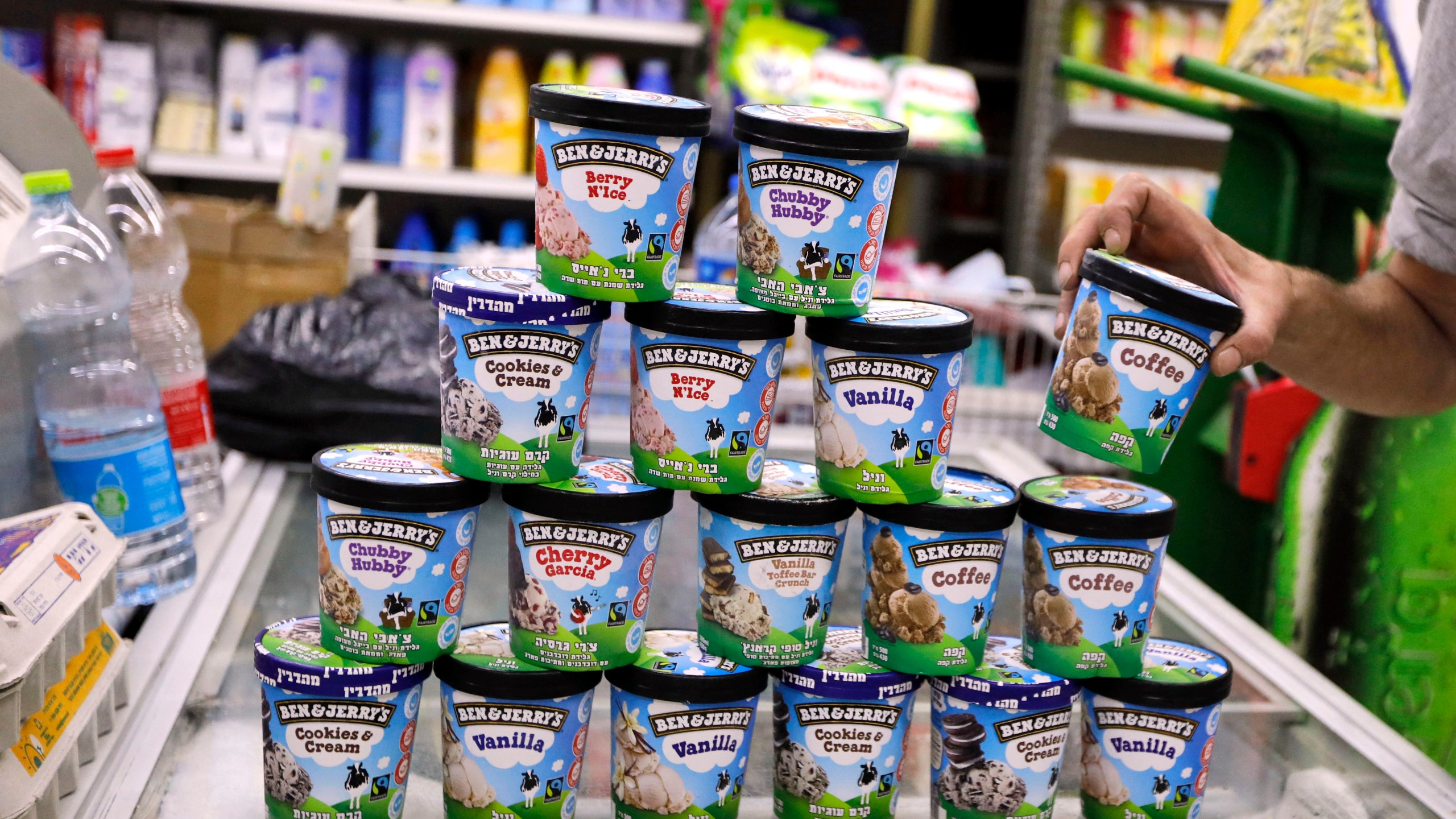 Ben & Jerry's ice cream is seen at a store in Jerusalem on July 20, 2021. (AHMAD GHARABLI/AFP via Getty Images)
