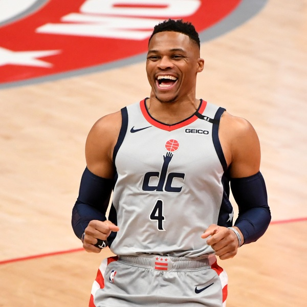 Russell Westbrook #4 of the Washington Wizards reacts prior to the game against the Brooklyn Nets at Capital One Arena on Jan. 31, 2021, in Washington, DC. (Will Newton/Getty Images)