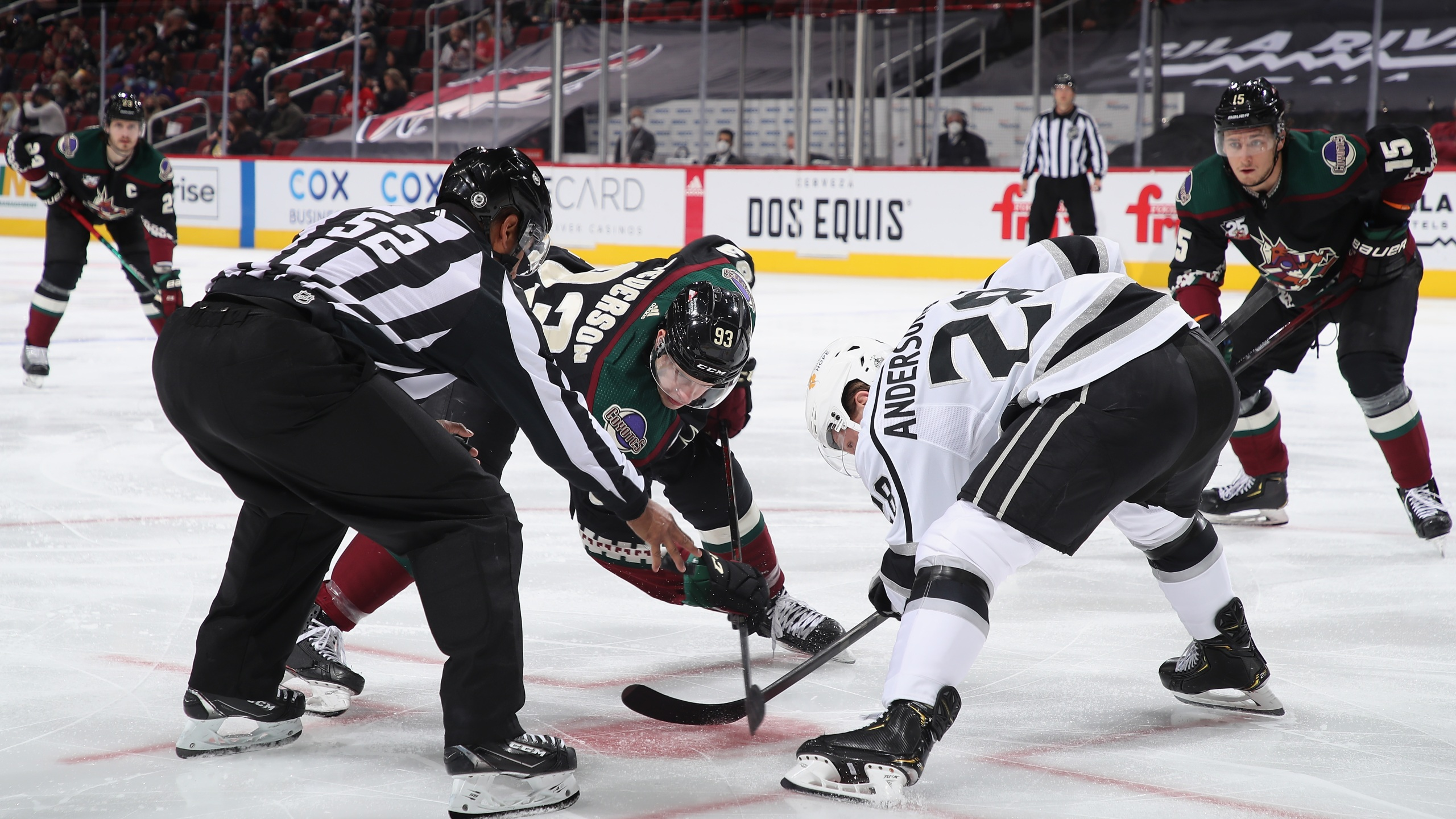 Lane Pederson #93 of the Arizona Coyotes faces off against Jaret Anderson-Dolan #28 of the Los Angeles Kings during the NHL game at Gila River Arena on May 5, 2021, in Glendale, Arizona. The Kings defeated the Coyotes 4-2. (Christian Petersen/Getty Images)