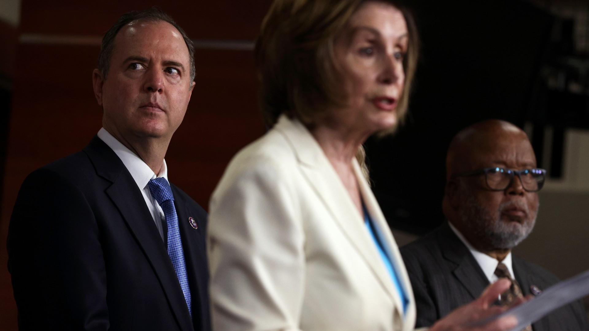Speaker of the House Rep. Nancy Pelosi (D-CA) (2nd L) speaks as Rep. Bennie Thompson (D-MS) (R) and Rep. Adam Schiff (D-CA) (L) listen during a weekly news conference at the U.S. Capitol July 1, 2021 in Washington, DC. Speaker Pelosi announced her appointments of House Democratic members to the select committee to investigate the January 6th attack on the U.S. Capitol. (Alex Wong/Getty Images)
