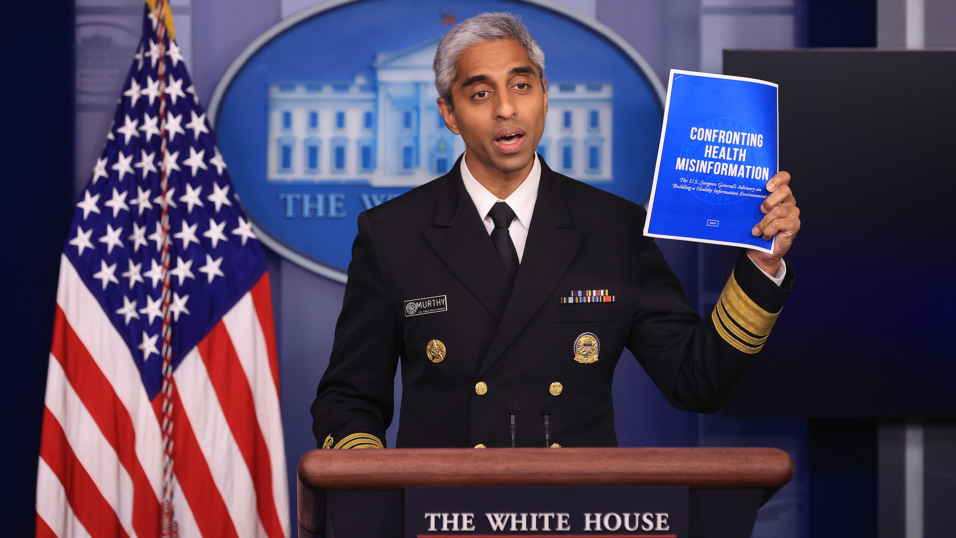 U.S. Surgeon General Vivek Murthy talks to reporters during the daily news conference in the Brady Press Briefing Room at the White House on July 15, 2021 in Washington, DC. Murthy announced the publication of a Surgeon's General's advisory titled, 'Confronting Health Misinformation,' and called on social media companies to do more to combat false information about the coronavirus vaccine and other health care topics. (Photo by Chip Somodevilla/Getty Images)