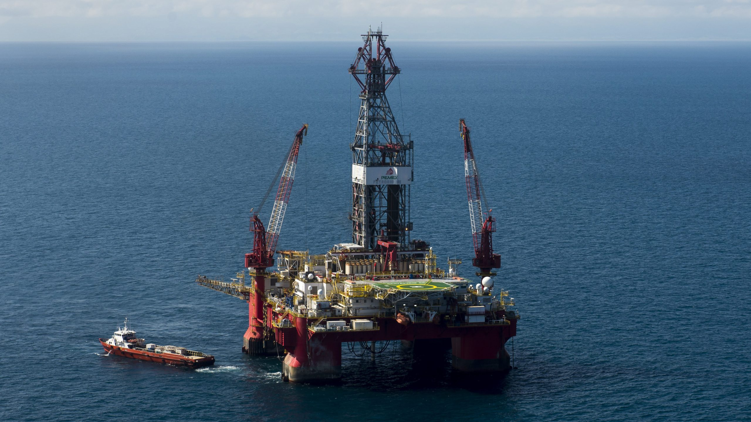 """The Centenario exploration oil rig, operated by Mexican company """"Grupo R"""" and working for Mexico's state-owned oil company Pemex, is seen in the Gulf of Mexico on Aug. 30, 2013. (Omar Torres / AFP / Getty Images)"""