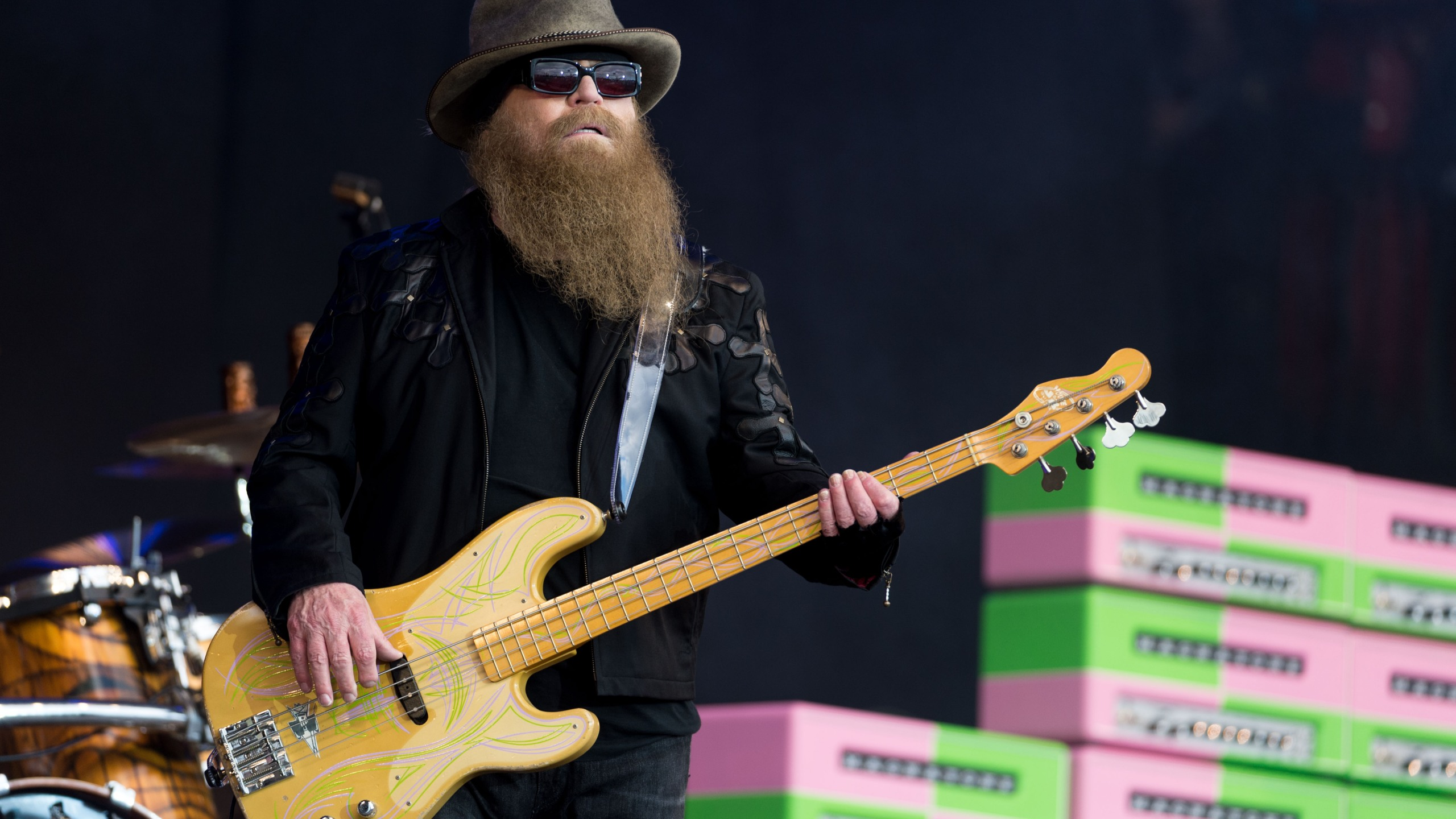 Dusty Hill of ZZ Top performs on the Pyramid Stage during the Glastonbury Festival at Worthy Farm, Pilton on June 24, 2016 in Glastonbury, England. (Ian Gavan/Getty Images)
