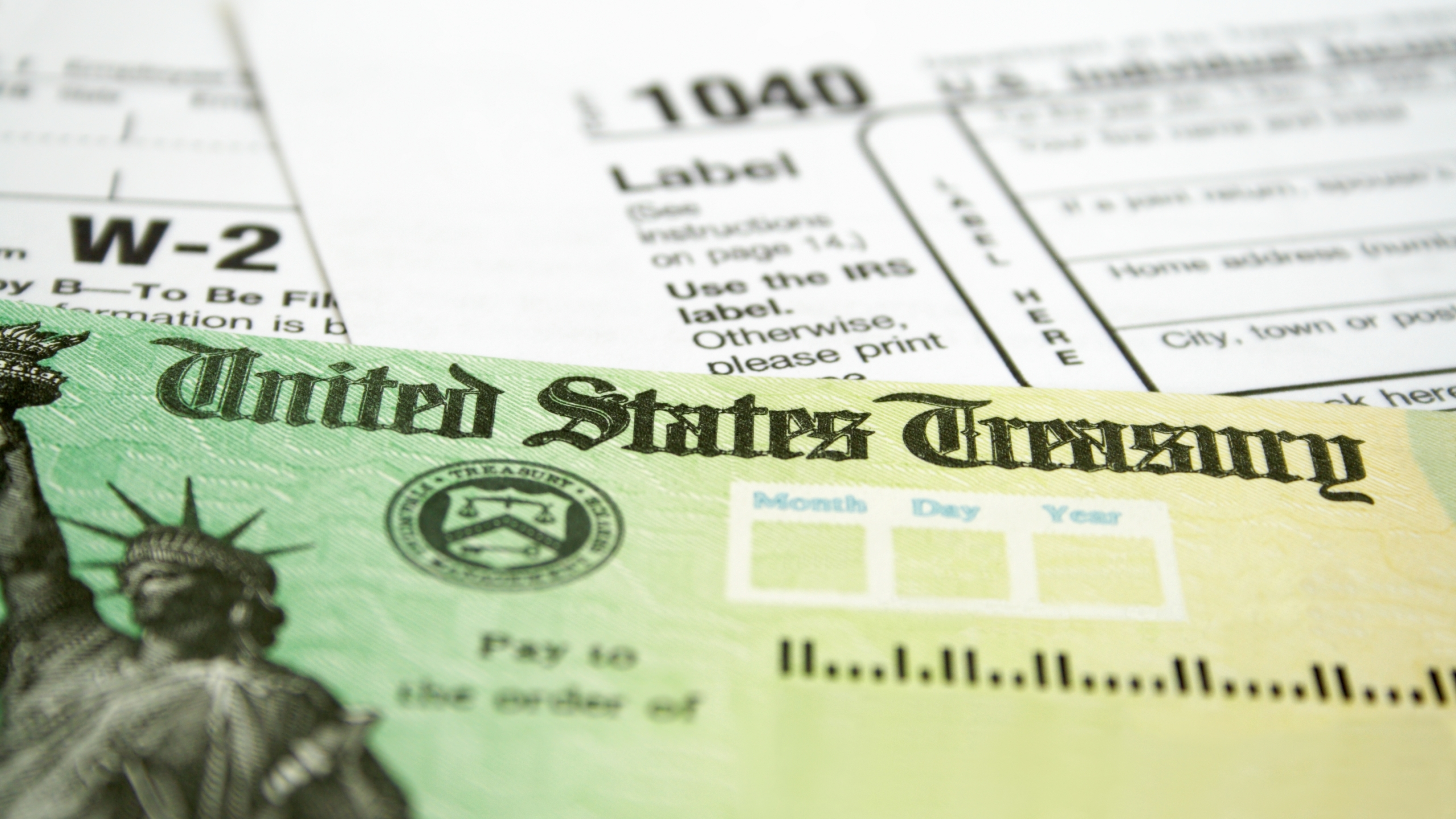 A U.S. Treasury check and a tax document are seen in a file photo. (iStock/Getty Images Plus)