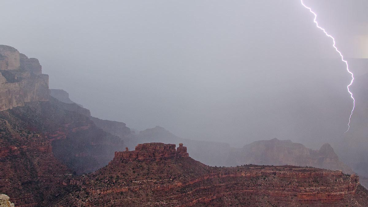 Lightning flashes the cliffs and buttes of Grand Canyon. (NPS Photo/M. Quinn)