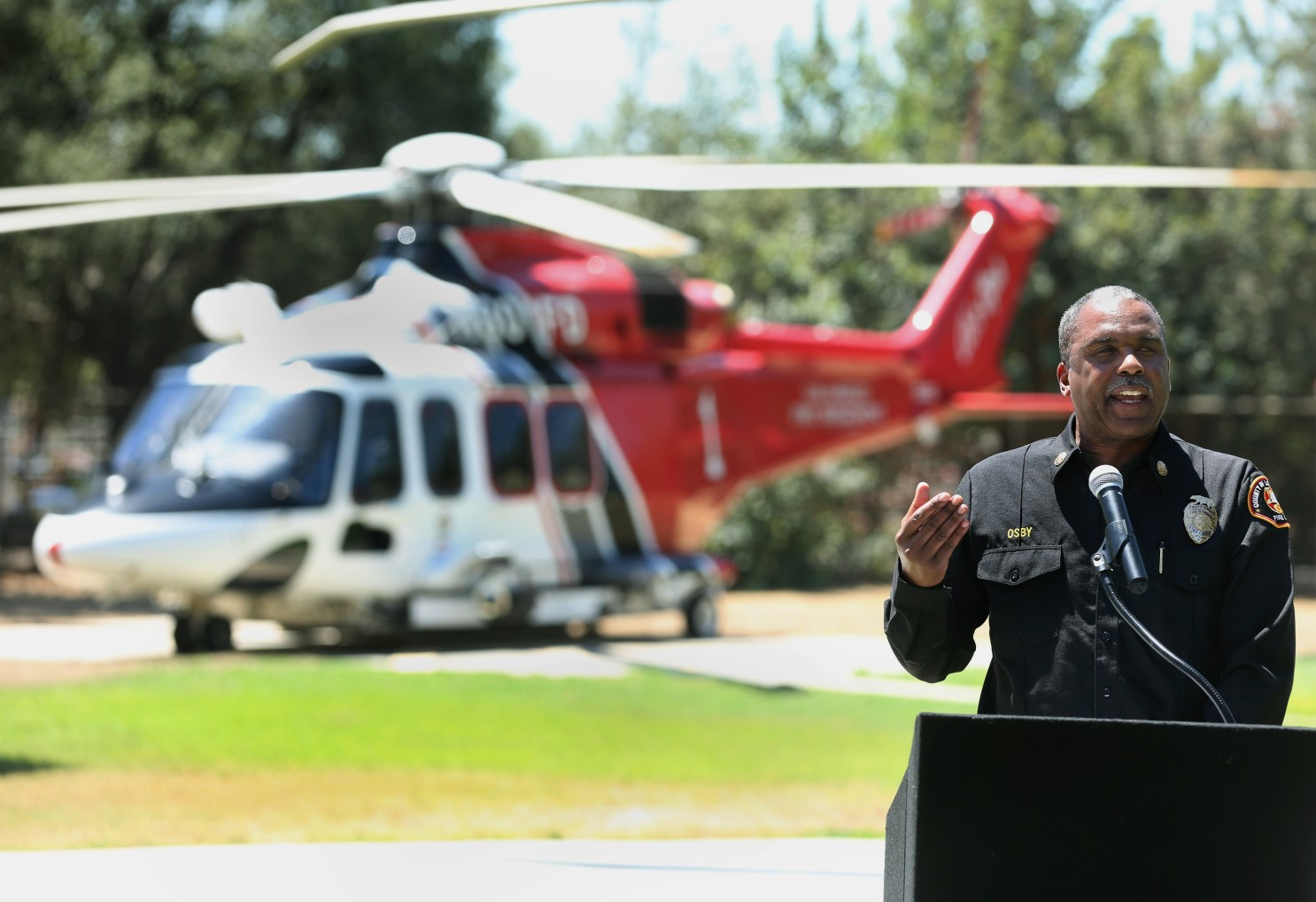 The Los Angeles County Fire Department employees whose vaccination data was published online include Fire Chief Daryl Osby, shown speaking at a news conference last month. (Mel Melcon/Los Angeles Times)