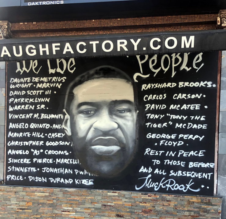 A mural of George Floyd is seen at the Laugh Factory in Hollywood in an undated photo. (The Laugh Factory)