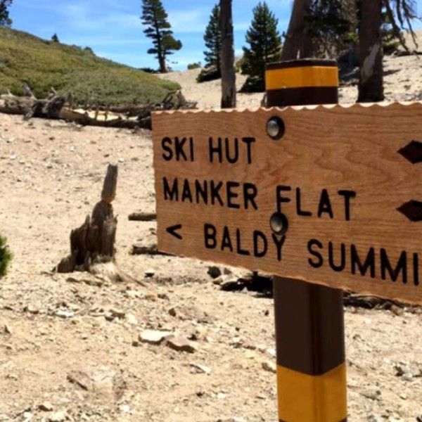 A sign on Mt. San Antonio's Baldy Bowl trail points the way to the highest point in Los Angeles County.(Los Angeles Times)