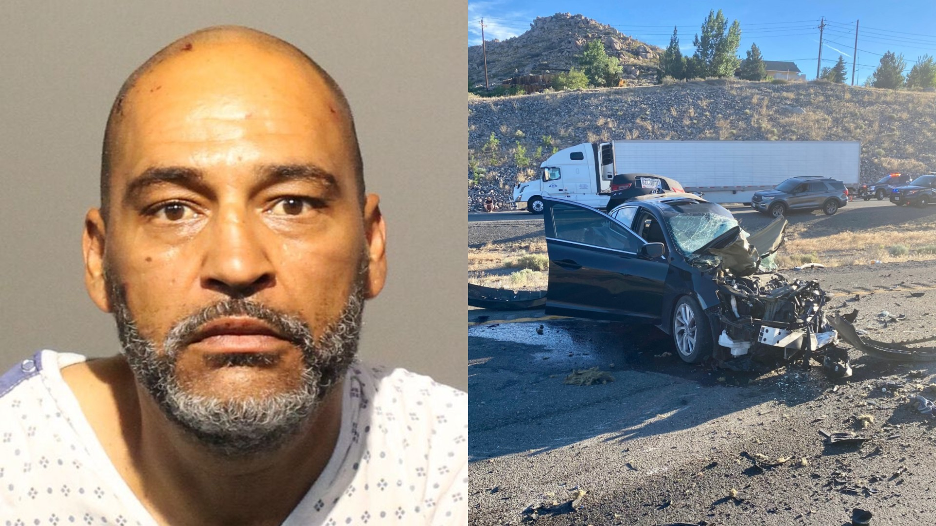 Laron Edward, left, is seen in a booking photo released by the Washoe County Jail; at right, an image of the crash site from the Nevada Highway Patrol.