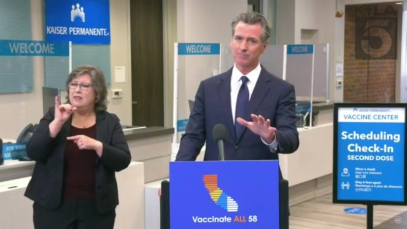 Gov. Gavin Newsom criticized prominent conservatives for their COVID-19-related comments on July 26, 2021. (KTLA)