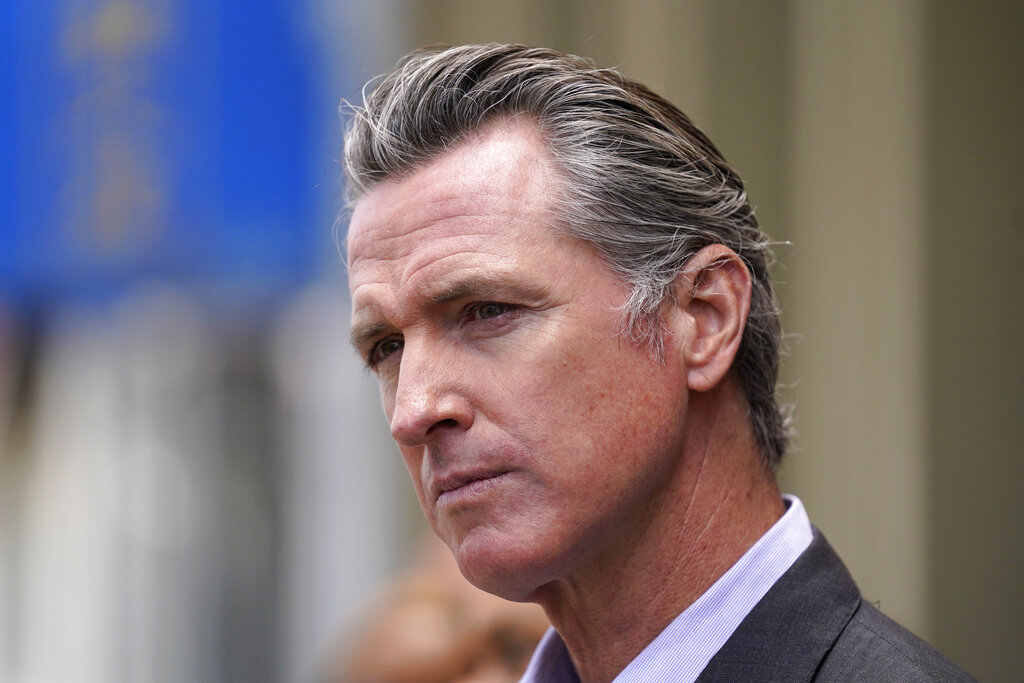 California Gov. Gavin Newsom listens to questions during a news conference in San Francisco on June 3, 2021. (Eric Risberg / Associated Press)
