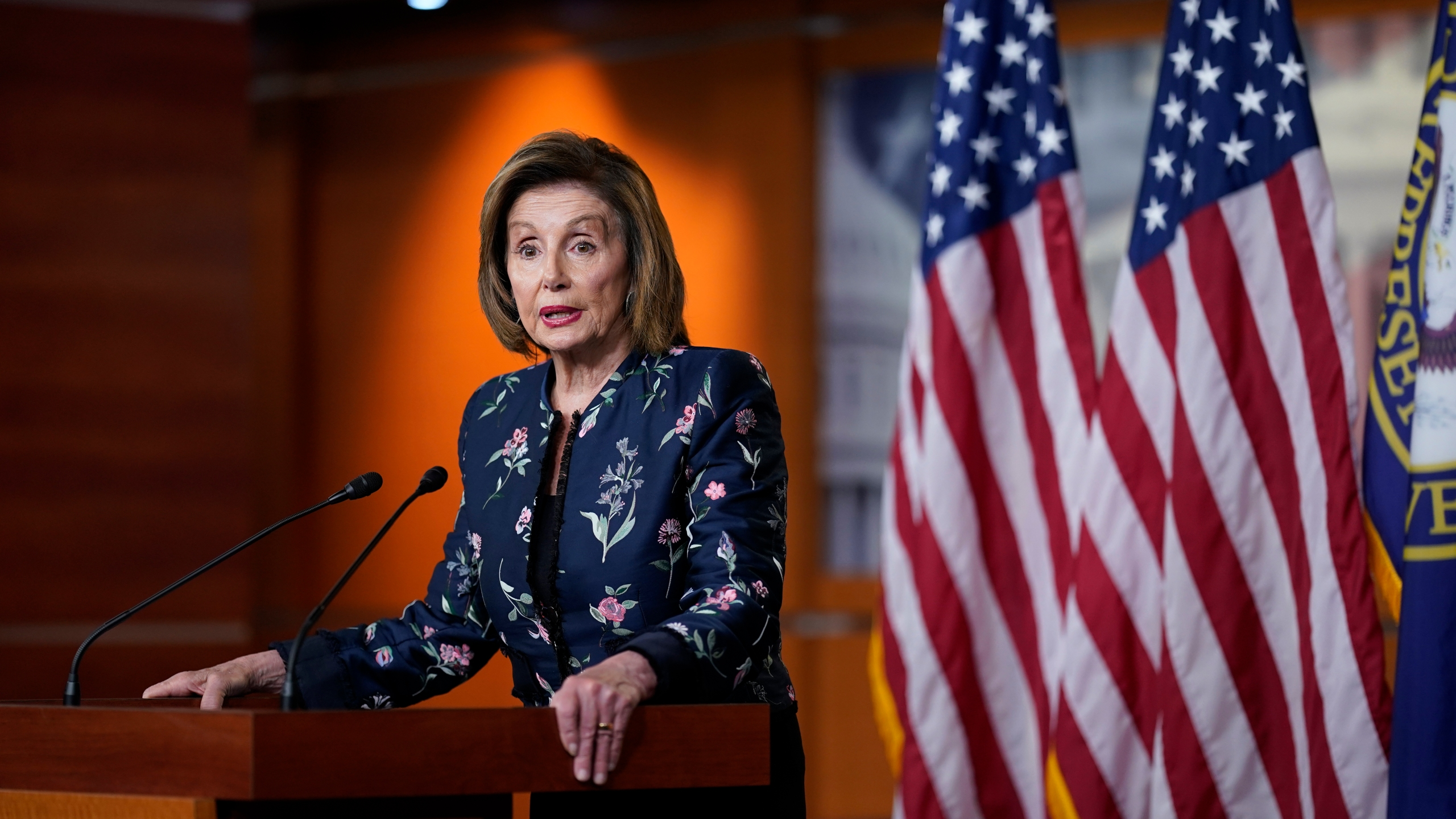 In this July 22, 2021, photo, Speaker of the House Nancy Pelosi, D-Calif., meets with reporters at the Capitol in Washington. (AP Photo/J. Scott Applewhite)