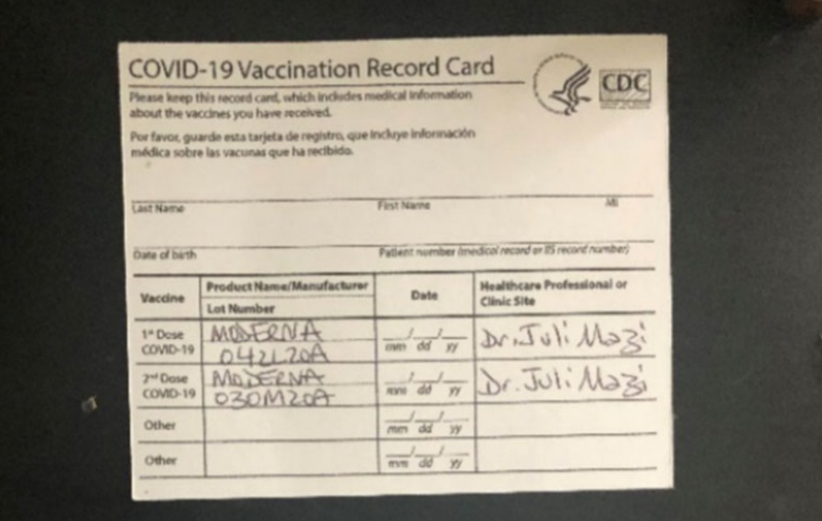 A CDC card allegedly given out by homeopathic doctor Juli A. Mazi. (U.S. Department of Justice)