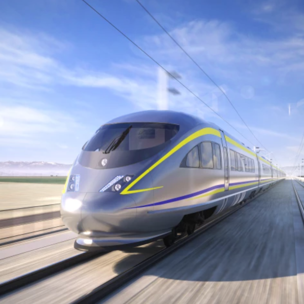 A rendering of the kind of high-speed rail train California plans to run in the San Joaquin Valley, using overhead electrified lines to power the trains. (California High-Speed Rail Authority)