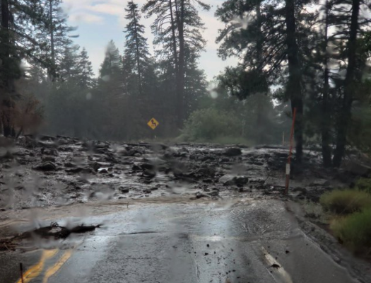 Mud flow along Highway 30 on July 30, 2021. (Caltrans)