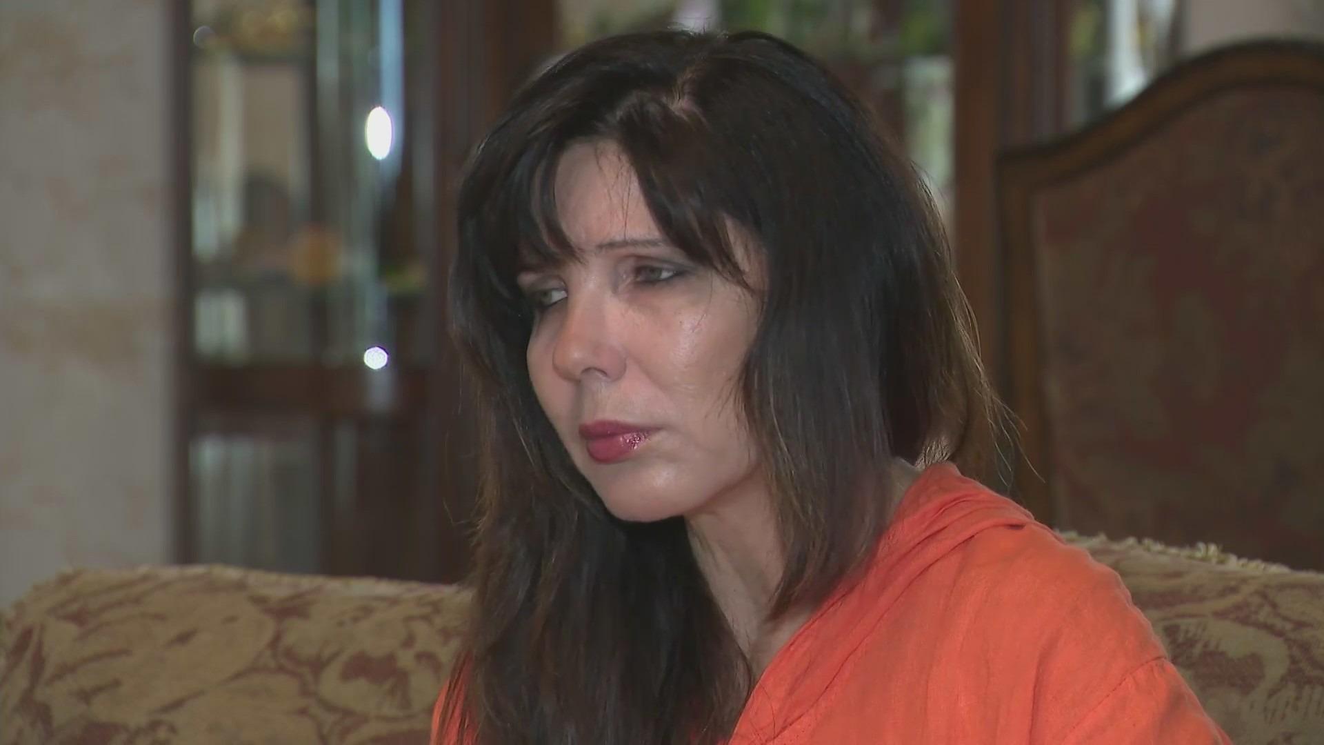 Tarzana resident Larisa Vinnitskaya is still shaken on July 28, 2021, after five masked men held her and her husband at gunpoint two days earlier. (KTLA)