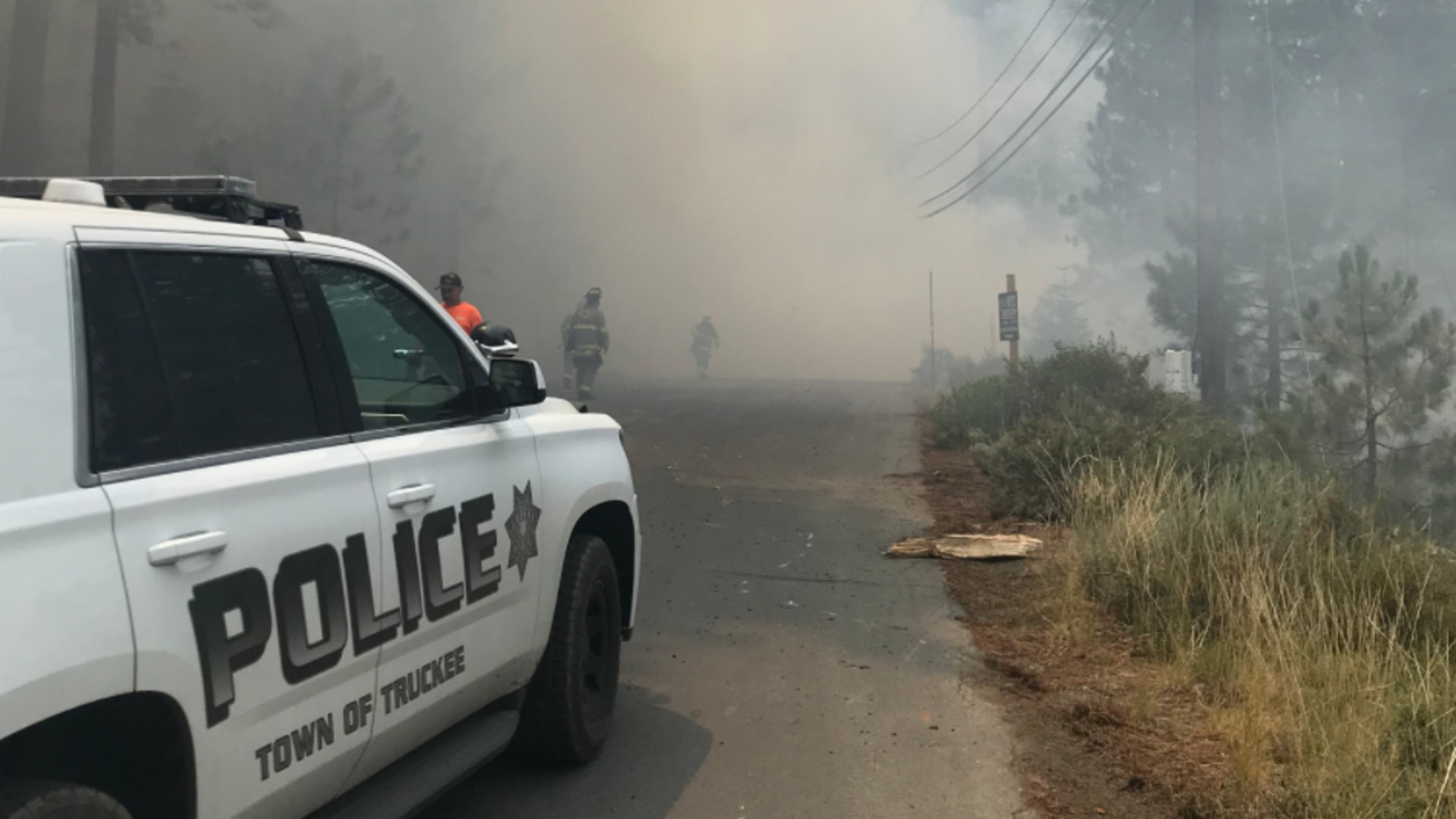 A small place sparked a small brush fire in Truckee on July 26, 2021. (Truckee Police Department)