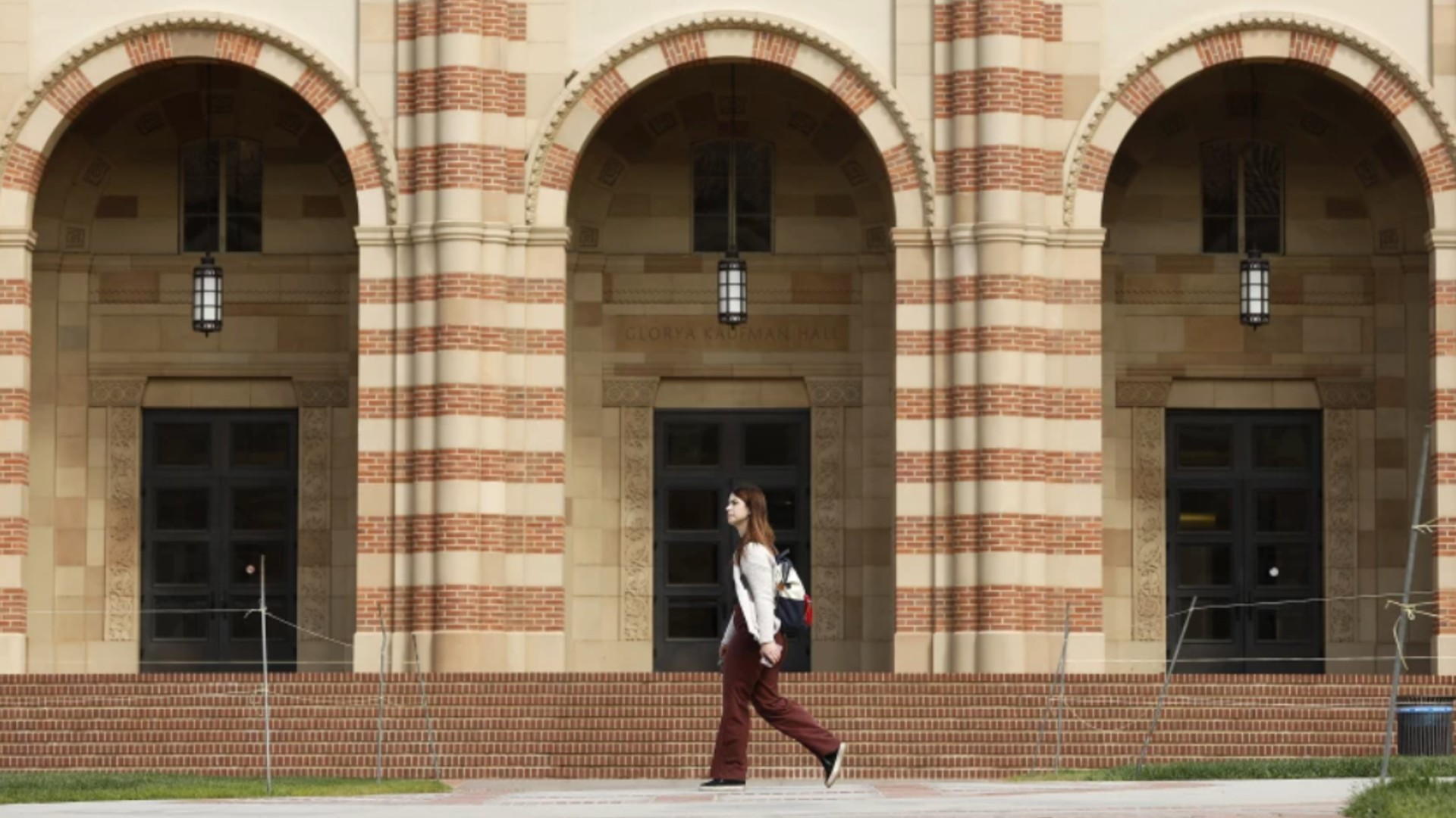 A student strolls the UCLA campus, which admitted the most accomplished freshman class ever for fall 2021. (Christina House / Los Angeles Times)