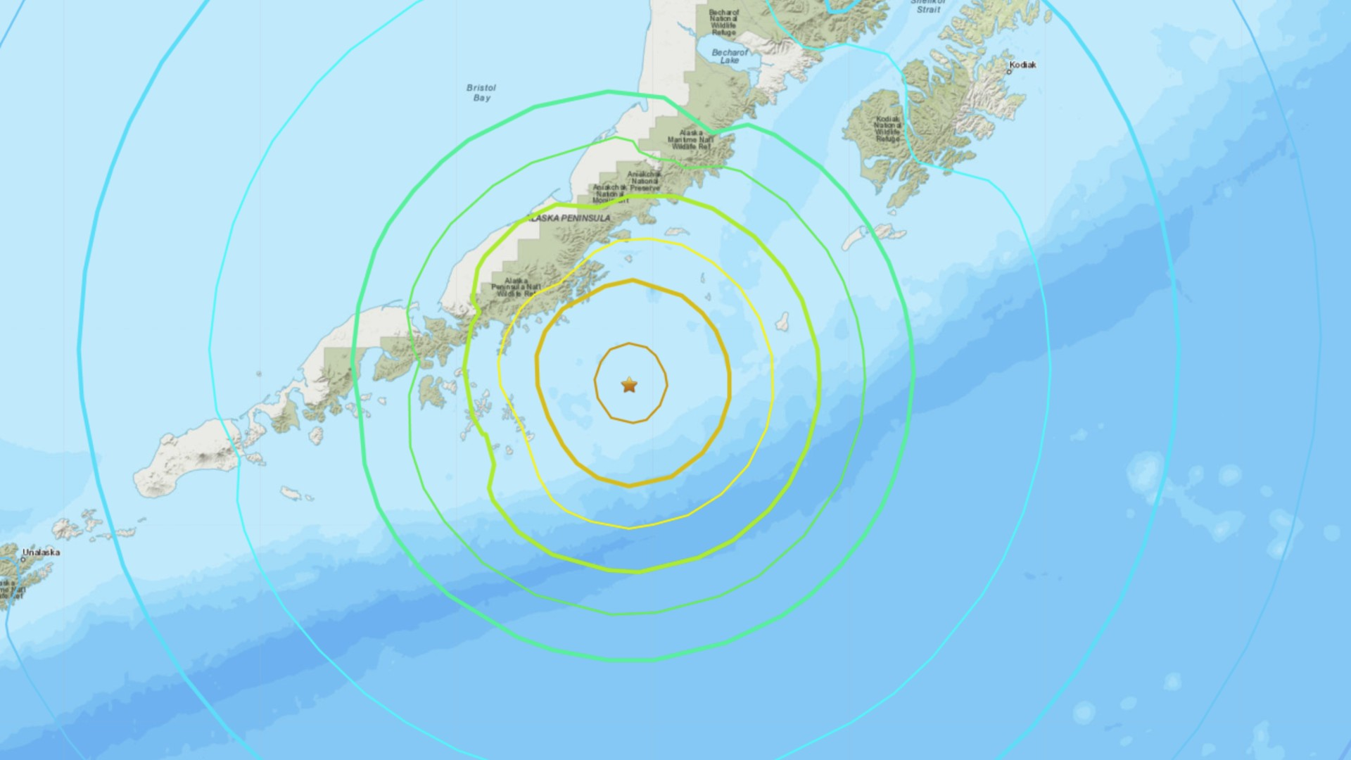 A tsunami warning was issued for parts of Alaska after an 8.2 magnitude earthquake struck the peninsula. (U.S. Geological Survey)