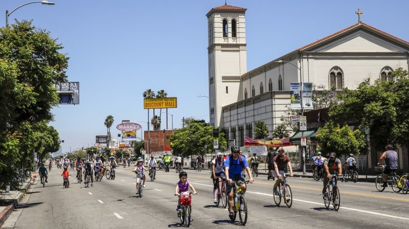 The scene along Washington Boulevard, near Crenshaw, during a CicLAvia event June 30, 2019, in the West Adams neighborhood of Los Angeles. (Jay L. Clendenin/Los Angeles Times)