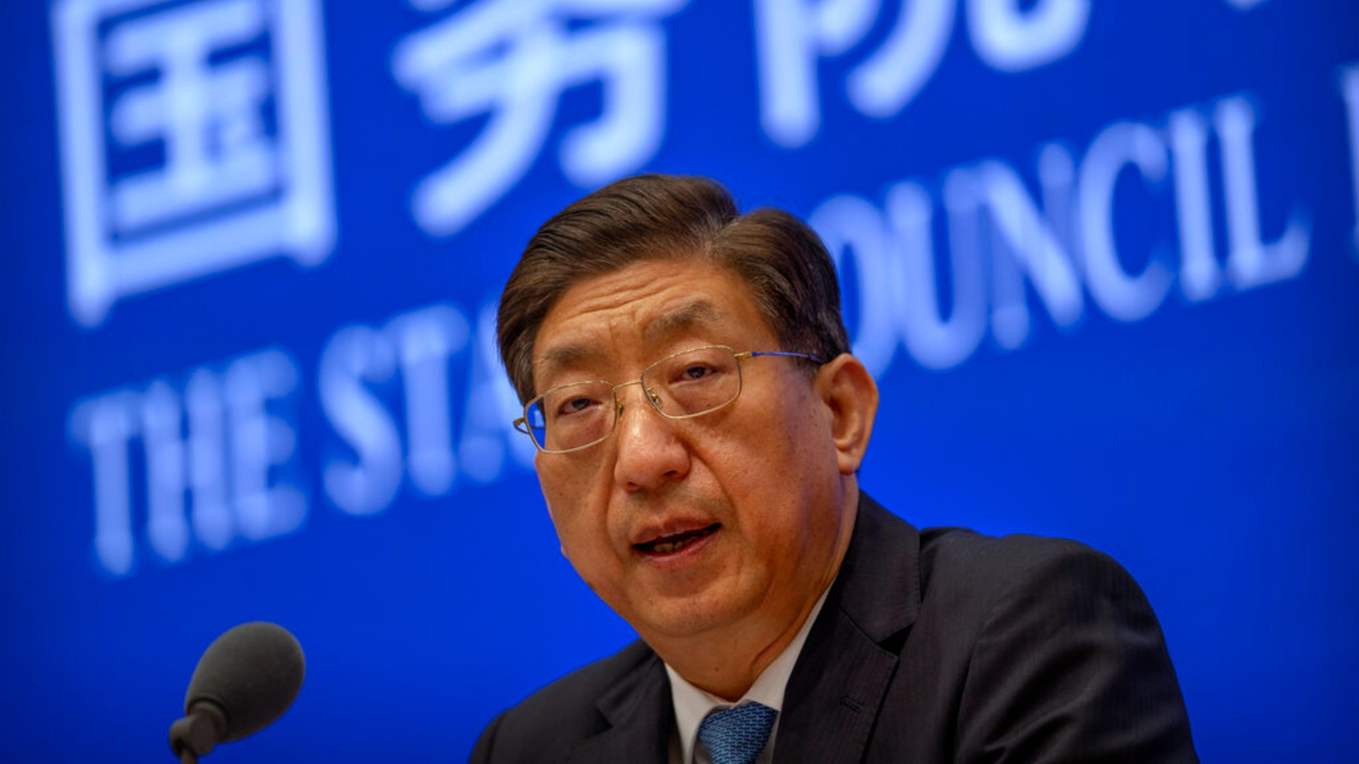 Zeng Yixin, Vice Minister of China's National Health Commission, speaks at a press conference at the State Council Information Office in Beijing, Thursday, July 22, 2021. (AP Photo/Mark Schiefelbein)