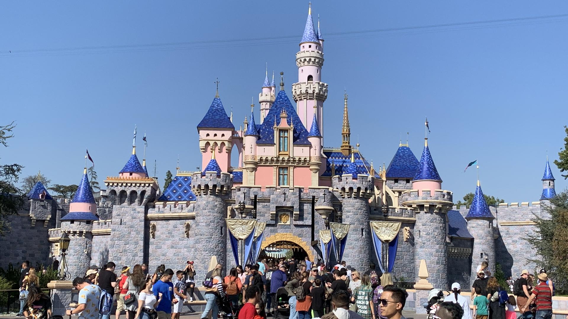 The Sleeping Beauty castle is seen at Disneyland on Oct. 14, 2019. (KTLA)