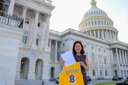 Rep. Michelle Steel's office released this photo of her, seen before introducing the Kobe Bryant Resolution in the U.S. House of Representatives.