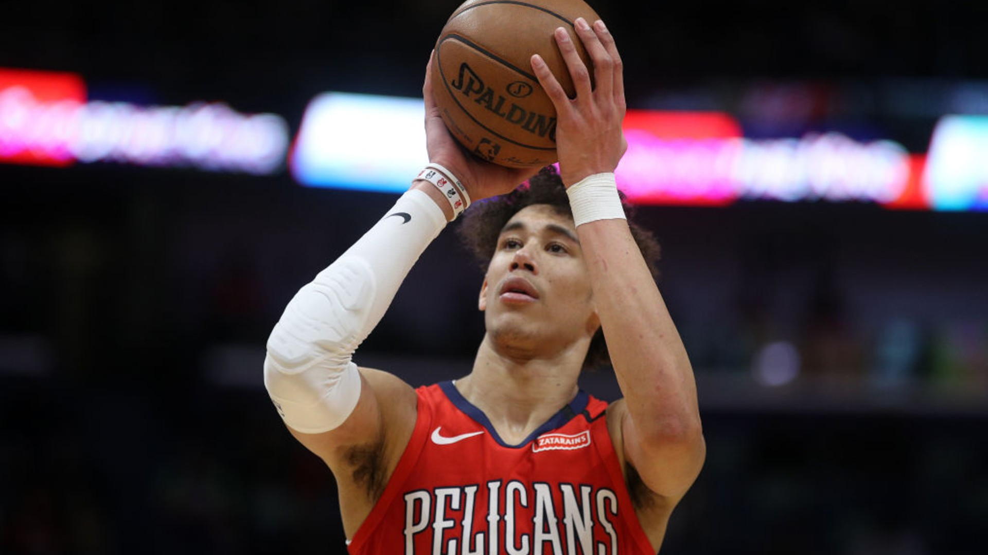 Jaxson Hayes of the New Orleans Pelicans shoots a free throw against the Utah Jazz at Smoothie King Center on January 16, 2020 in New Orleans, Louisiana. (Chris Graythen/Getty Images)