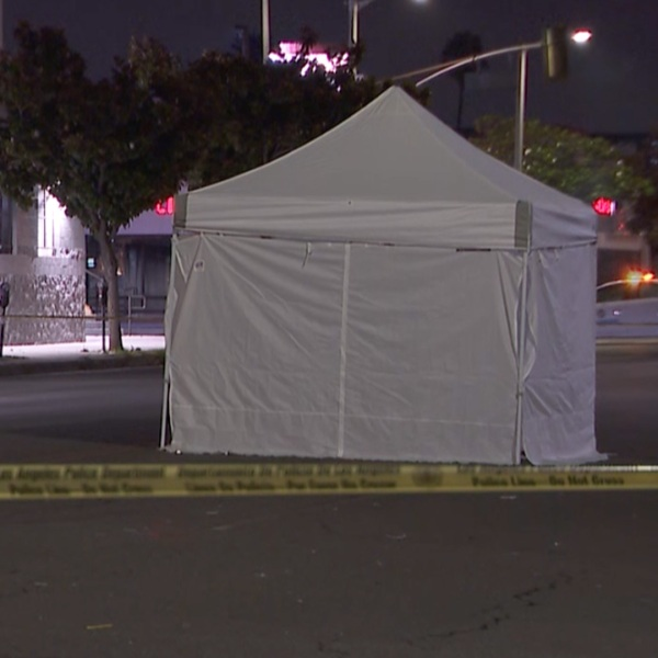 A 26-year-old man was fatally struck on a street in Beverly Grove on July 17, 2021. (KTLA)