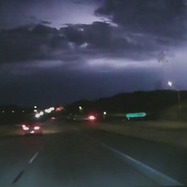 Lightning strikes in the High Desert on July 18, 2021. (KeyNews.TV)