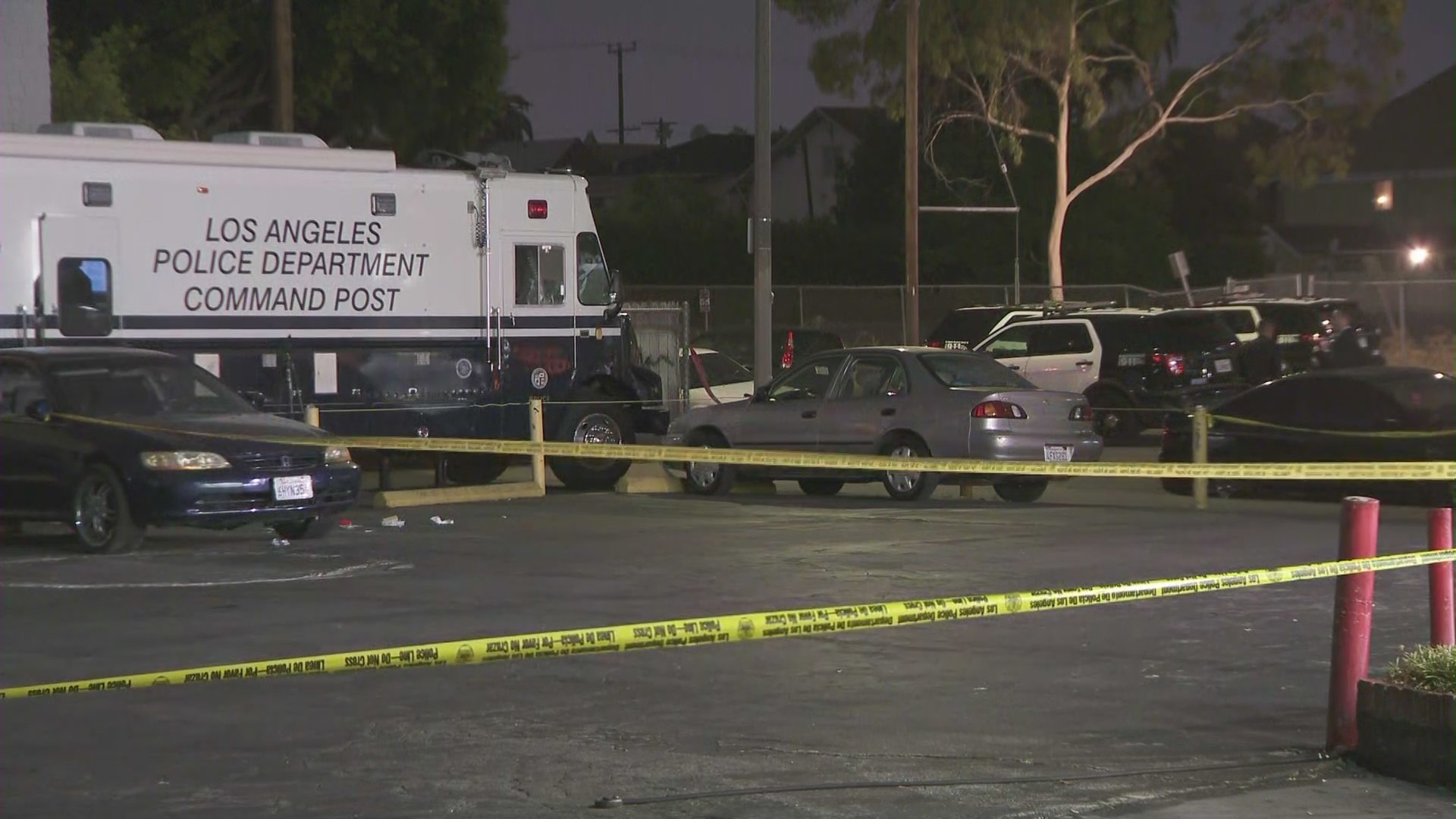 An investigation was underway on July 26, 2021, after officers opened fire on a man they say was armed with a knife. (KTLA)