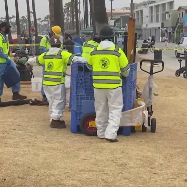 Sanitation crews begin work to clear part of Venice Boardwalk July 16, 2021. (KTLA)