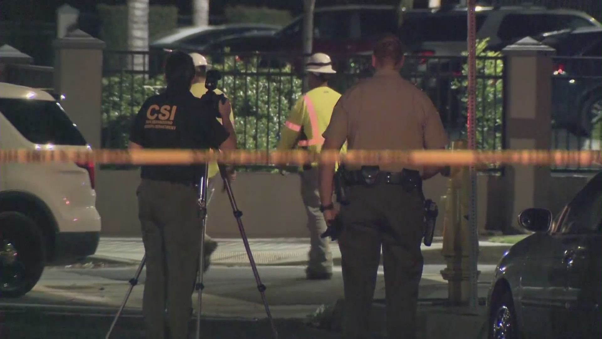 Authorities respond to the scene of an officer-involved-shooting in Colton on July 29, 2021. (KTLA)