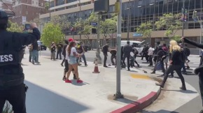Demonstrations over trans rights sparked clashes between protestors and counter-protestors in Koreatown on Saturday after a video online went viral of a woman upset that a trans woman with male genitalia being allowed to disrobe in the women's section of the upscale spa.