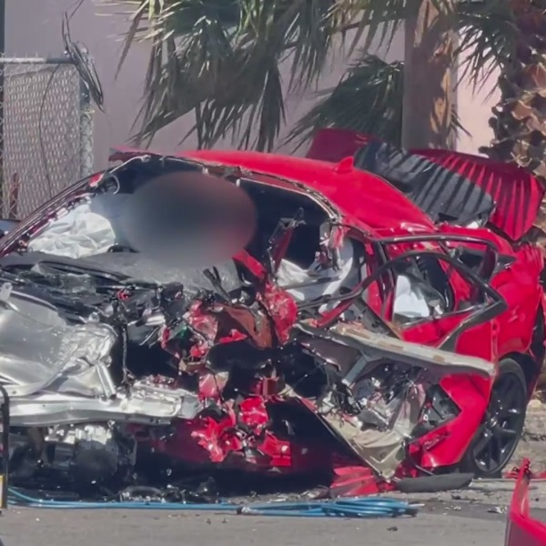 A fatal car crash in Fontana left at least two people dead after a vehicle driving at a high rate of speed in the wrong direction collided with several vehicles. (Socal News Outlet)