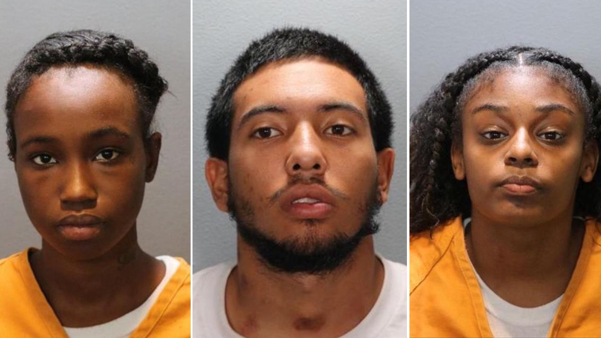 Asja Hansbrough, Tommy Dunmore and Kahjai Alford are seen in booking photos released by the Seal Beach Police Department on July 21, 2021.