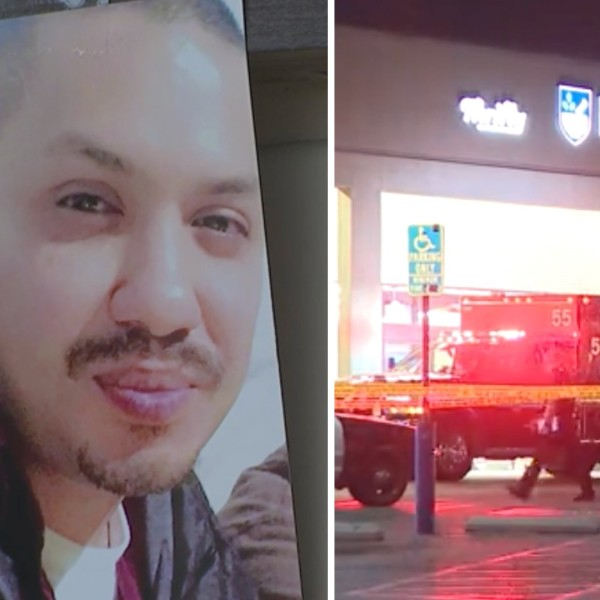 A makeshift memorial set up outside Rite Aid in Glassell Park on July 16, 2021, shows a picture of a man who loved ones identified as Miguel Penaloza. On the right, the store is seen the previous night. (KTLA)