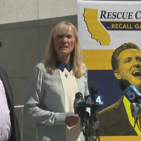 Rescue California holds an event in downtown Los Angeles on July 19, 2021, to support the recall of Gov. Gavin Newsom. (KTLA)