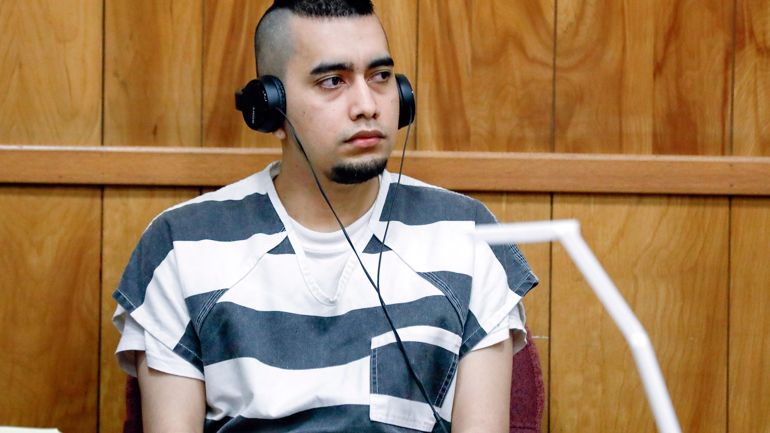 In this July 15, 2021, file photo, Cristhian Bahena Rivera appears during a hearing at the Poweshiek County Courthouse in Montezuma, Iowa. (Jim Slosiarek/The Gazette, Pool,Associated Press)