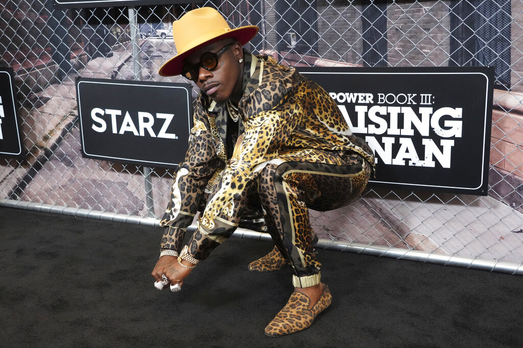 """DaBaby attends the world premiere of """"Power Book III: Raising Kanan"""" at the Hammerstein Ballroom on Thursday, July 15, 2021, in New York. (Charles Sykes/Invision/AP)"""