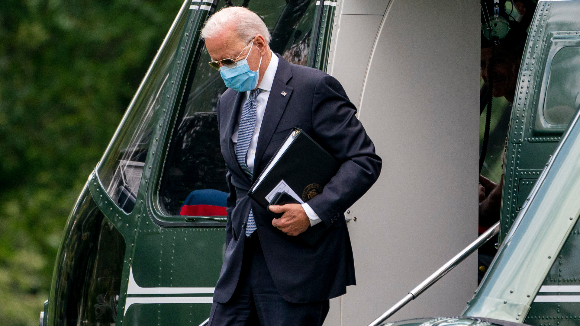 President Joe Biden arrives at the White House in Washington, Monday, Aug. 2, 2021, after spending the weekend at Camp David. (AP Photo/Andrew Harnik)
