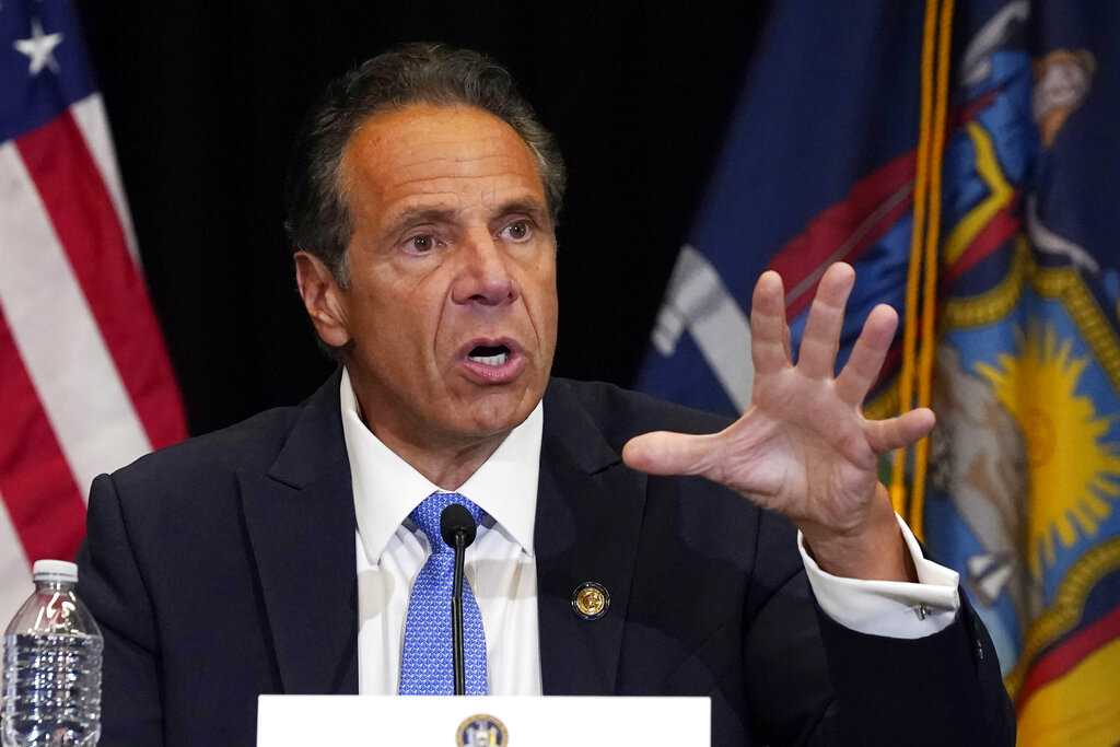 New York Gov. Andrew Cuomo speaks during a news conference at New York's Yankee Stadium on July 26, 2021. (Richard Drew/Associated Press)