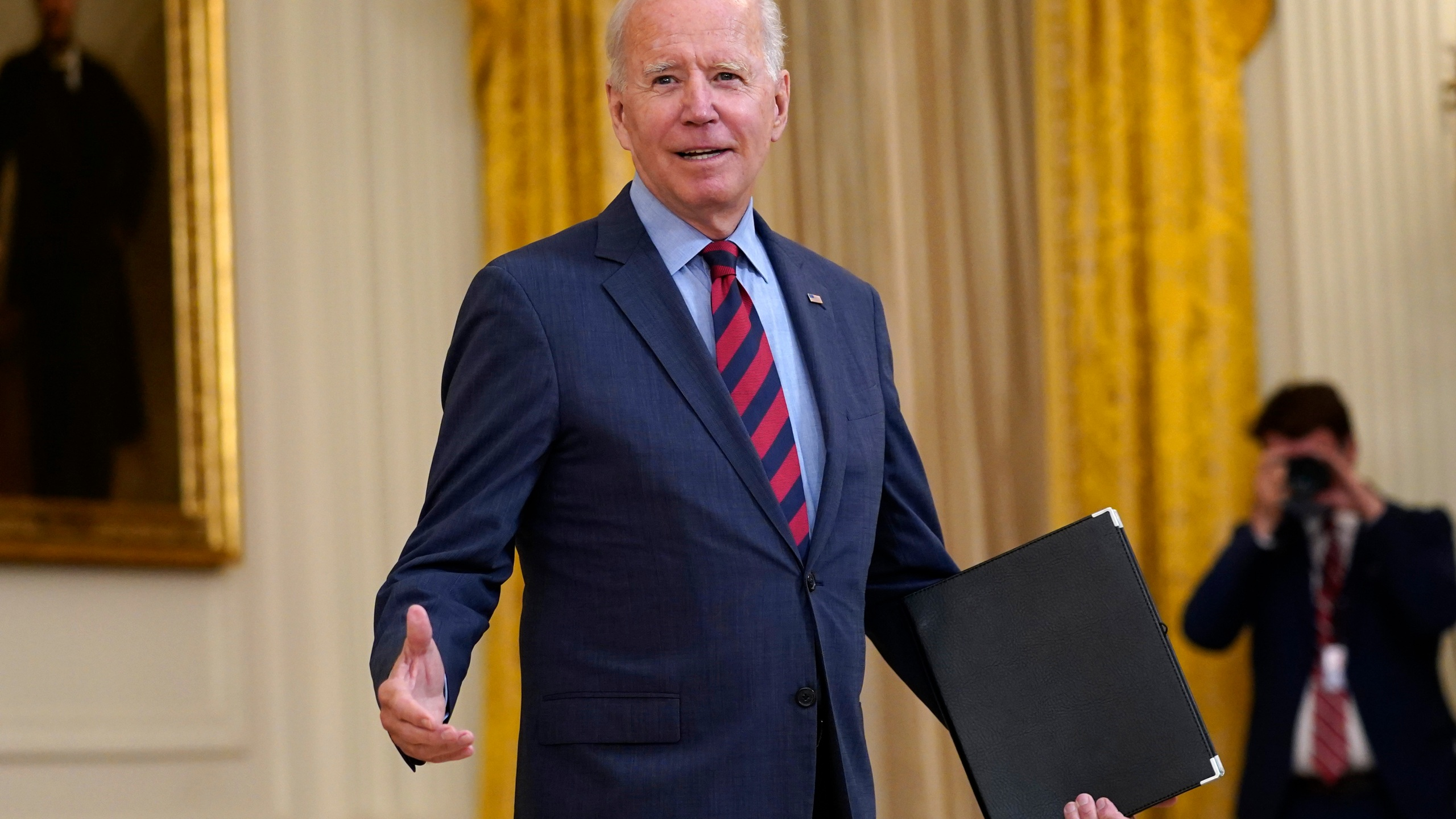 President Joe Biden answers a question from a reporter as he speaks about the coronavirus pandemic in the East Room of the White House on Aug. 3, 2021. (Susan Walsh/Associated Press)
